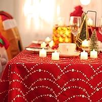 Deconovo Mantel Mesa Rectangular Mantel de Navidad Decoración Dibujo Collar 132 x 229 cm Rojo