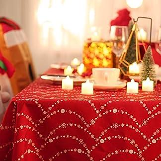Deconovo Mantel Mesa Rectangular Mantel de Navidad Decoración Dibujo Collar