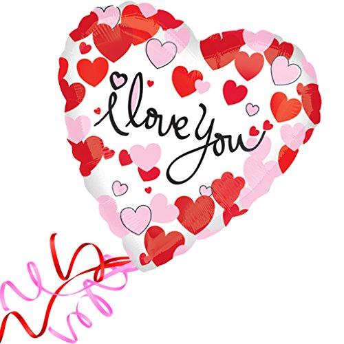 efüllt < < < Folienballon großes Herz rote Herzen I love you Ballon mit Helium/Ballongas gefüllt Liebe Heiratsantrag Valentinstag von Haus der Herzen® ()