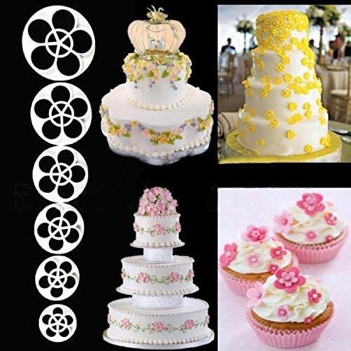 Hrph 6PCS Petal Rose-Blumen-Fondant Biscuits Cutter Dekorieren Sugar Werkzeuge Kuchen-Küche Plätzchen-Zubehör (Petal Rose Cutter)