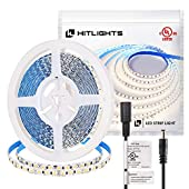HitLights LED Light Strip with Premium High Density for Under Cabinet, Kitchen, Household and More (ULListed. 12V DC Tape Light) NonWaterproof 600LED Cool White