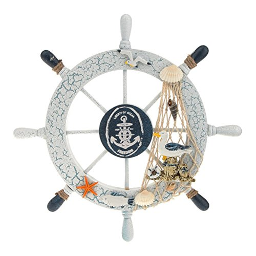 Pixnor Nautische Strand Holzschiff Schiff Steering Wheel Fishing Net Shell Haus-Wand-Dekor (Seevogel)