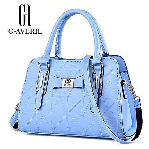 (G-AVERIL)Donne Boutique moderno ed elegante maniglia superiore borsa del messaggero della borsa della spalla del Tote casuale del lavoro Bauletto Rosso blu