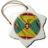3dRose orn_31549_1 Grenada Flag Snowflake Porcelain Ornament, 3-Inch