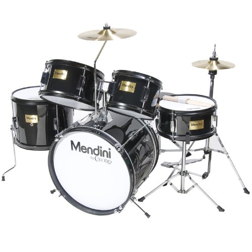 mendini-mjds-5-bk-junior-drum-set-black