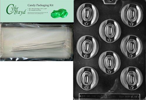 Cybrtrayd mdk25s-k080Cowboy Hüte Kinder Schokolade Candy Form mit Verpackung Bundle, inkl. 25Cello Taschen, 25silber Twist Krawatten und Schokolade Formen Anweisungen (Cowboy-hut Candy)