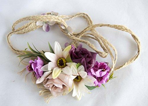 Cinturón de cuerda con flores de tonos morados. Envío GRATIS 72h