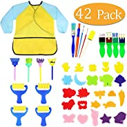 Kids Early Learning Sponge Painting Brushes Kit, 42 Pieces Sponge Drawing Shapes Paint Craft Brushes for Toddl