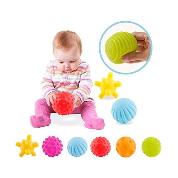 ROHSCE 6pcs Baby Textured Multi Ball Set Infant Sensory balls Massage Soft ball 1