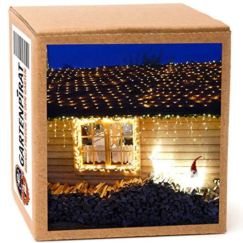 LED Lichternetz 4 x 4 m 360 LED warmweiß mit Timer Weihnachtsbeleuchtung außen von Gartenpirat®