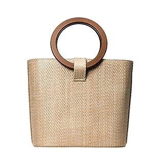 ACMEDE Women Handbag Summer Fashion Woven Rattan Straw Cross Body Bag Top Handle Beach Handbags Khaki