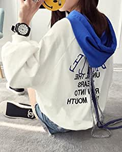 Autumn Women 's Hooded Sweater Long Sleeved Short Blouse Printing Letters,Blue,L
