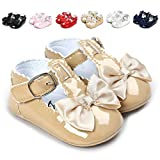 QGAKAGO Infant Baby Girls Princess PU Leather Mary Jane Shoes Soft Sole Bowknot Shoes (M: 4.73 inch(6~12 Months)