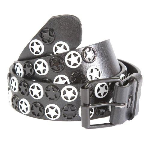 Accessoryo Damen Gürtel, Nieten mit Symbolen Mehrfarbig Schwarz/Weiß (Emo Gürtel)