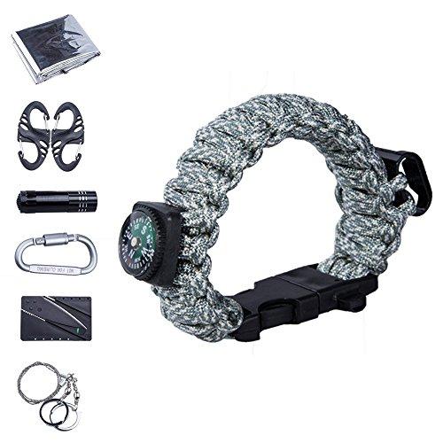Vogvigo 7 in 1 Survival Bracelet Kit , Multifunctional Paracord Bracelet Outdoor Emergency Survival Tool Kit for Camping Hiking Travelling or Adventures