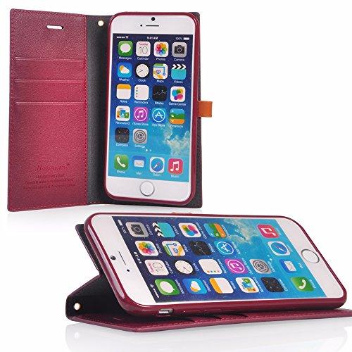 UKDANDANWEI Apple iPhone 5s Hülle Hochwertig Stilvoll Kunstleder Schutzhülle Tasche PU Leder Brieftasche Handyhülle Klapptasche Handycover Bumper Schale mit Kreditkarteninhaber Kippständer Magnetversc Rot
