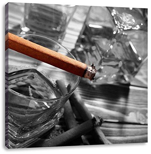 Pixxprint Cigar on Whiskey Glass 60x60 cm Stampa su Tela Decorazione