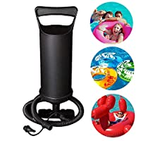 BOMPOW Hand Air Pump, Double Quick Hand Pump for Inflatables, Inflate Balloon Swimming Ring, Black