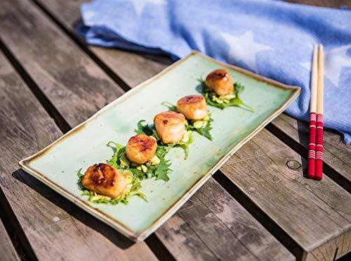 Jakobsmuscheln mit Sake Butter und Gemüse Chips mit Wasabi Mayonnaise -