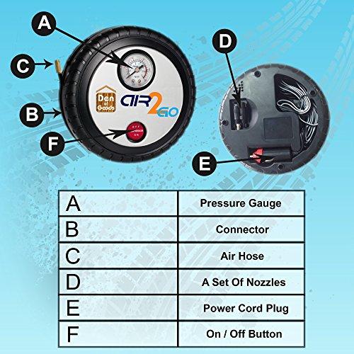 Luftkompressor Reifen Aufblasen – Für Auto-Fahrrad Motorrad – 12V DC Beweglicher Elektrischer Kompressor Auto Schnell Und Einfach Zu Bedienen. Durch Air2Go. - 6