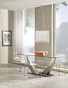 Tavolo design con piano in vetro temperato trasparente e base in vetro temperato trasparente - Vetro temperato cucina prezzo ...