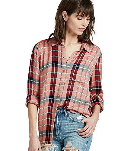 Lucky Brand - Women's - Boyfriend Fit - Red Plaid Back Overlay Shirt (X-Small) Plaid Overlay