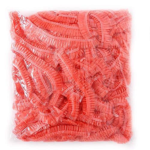ZEYIN Einweg-Duschkappen, elastisch, für Spa, Zuhause, Hotel und Friseursalon, 100 Stück rot
