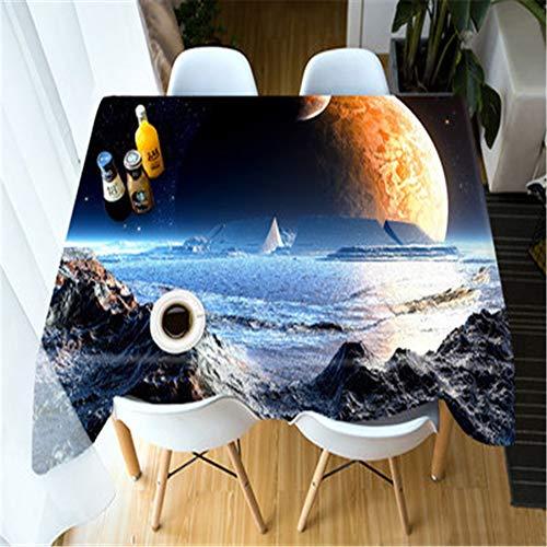 MMHJS 3D Planet Galaxy Tischdecke Cosmic Outer Space Thema Couchtisch Abdeckung Polyester Haushalt Kaffee Küche Tischset A 70X70cm