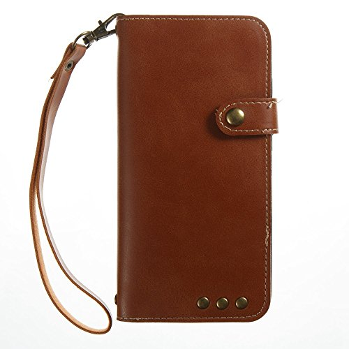 Normallack Faux Ledertasche Retro Folio Horizontale Flip Stand Case mit Magnetniet Verschluss & Card Slots & Lanyard für Xiaomi 6 ( Color : Blue ) Brown