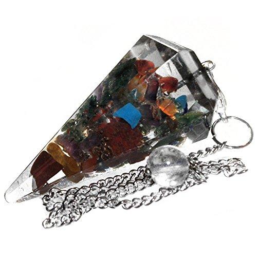 Pendule pour radiesthésie en Orgonita avec cristaux des 7 chakras pour guérison et voyance