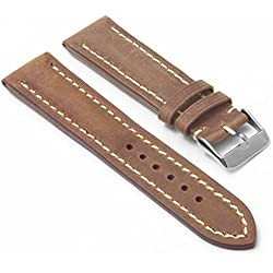 DASSARI Avant Tan Distressed Italian Leather Watch Band for BREITLING 20/18 20mm
