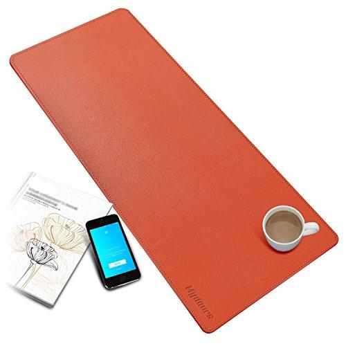 Mydours pad per scrivania multifunzionale in pelle pu tappetino per mouse da gaming grande antiscivolo impermeabile protettivo tappetino da scrivania computer perfetto da scrivania per ufficio e casa 950mm*400mm - arancio
