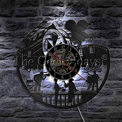 Reloj de Pared Actores En Películas Disco de Vinilo Reloj de Pared Director de Cine Gramófono Reloj Moderno Cine Decoración de Pared Regalo para Un Amante del Cine