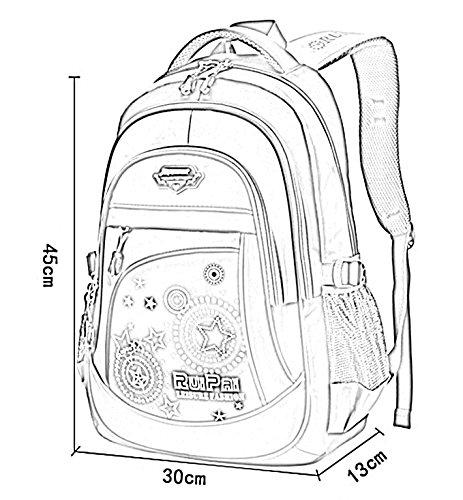 Happy Cherry Schulrucksack Blumen Schulranzen Schultasche Sports Rucksack Freizeitrucksack Daypacks Backpack für Mädchen Jungen Kinder Damen Herren Jugendliche-Lila Grau