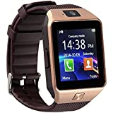 Techwich Certified Bluetooth Smart Watch DZ09 Wrist Watch Phone with Camera & SIM Card Support New Arrival Best Selling Premium Quality with Apps like Facebook / Whatsapp / QQ / WeChat / Twitter / Time Schedule / Read Message or News / Sports / Health / Pedometer / Sedentary Remind & Sleep Monitoring / Better Display / Loud Speaker / Microphone / Touch Screen / Multi-Language / Compatible with Android iOS Mobile Tablet PC-golden