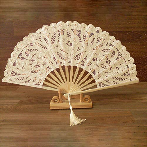 NANAD abanicos de Encaje Plegables de Mano, Ventiladores de bambú con Borla para Mujer, abanicos de Mano de bambú Hueco para decoración de Pared, Regalos, Beige, Tamaño Libre