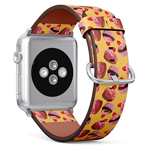 R-Rong kompatibel Watch Armband, Echtes Leder Uhrenarmband f¨¹r Apple Watch Series 4/3/2/1 Sport Edition 42/44mm - Pattern of Brown Delicious Chocolate Strawberry Cupcake with pink Cream - Chocolate Brown-leder-armband