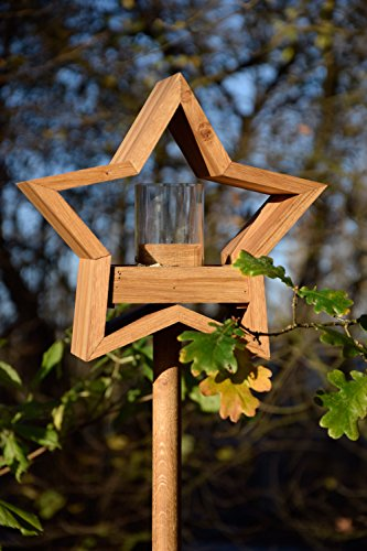 Luxus-Vogelhaus 85075e Stern Design, Ständer aus geöltem Eichenholz, Holz mit Silo, 30 x 14 x 152 cm - 7