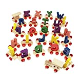 #2: Lakshya-Wooden A to Z Train Set || Multiple Coloured || 26 Alphabet Blocks with Fine Finish and Quality