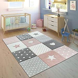comprar suelo radiante: Paco Home Alfombra Infantil Pastel Cuadros Puntos Corazones Estrellas Blanco Gri...