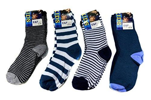 E&F Fashion 12 Paar Kids Jungen Socken Kinder Strümpfe 85% Baumwolle Bunt Gr. 23-38 + Silikon Armband A.1000 (35-38)