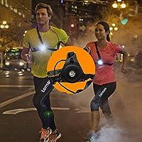 Runing Luz nocturna, resistente al agua, a prueba de sudor – Lámpara LED pecho ajustable correa 250 lúmenes 3 modos de iluminación USB carga pecho linterna ...