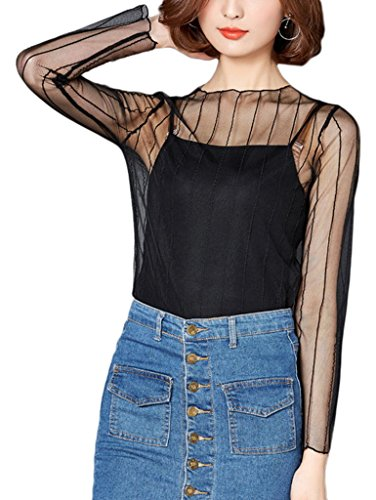 Smile YKK One Size für Meiste Damen Durchsichtig Sommer Shirt Oberteil Casual T-Shirts Top Cover Up zum Kostüm Passende Tank Top Bilder G