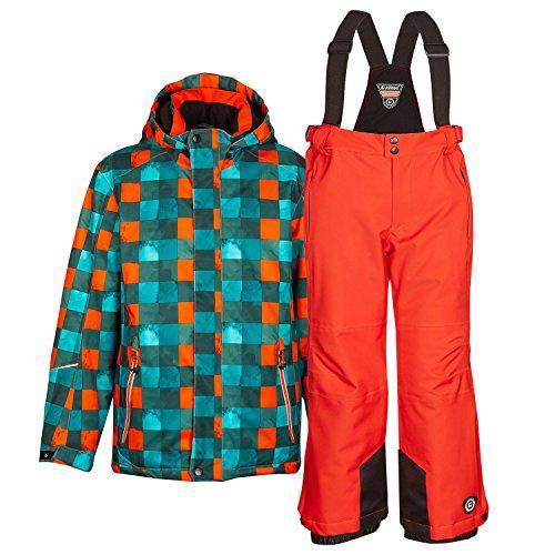 Kinderskianzug Skijacke Skihose für Mädchen & Jungen zur Farb- und Größenwahl (orange, 176) (Microfleece Jungen Hose)