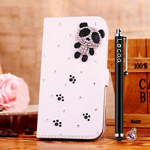 Preisvergleich Produktbild Locaa(TM) Für Samsung Galaxy J1 (2015) GalaxyJ1 3D Bling Case 3 IN 1 Schutzhülle Schale Schöne Wallet Accessory Hülle Abdeckung Phone Shell Cover Holster Mädchen [General 1] niedlicher Panda