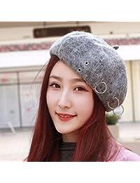 RangYR Sombrero De Mujer Sra. Cap Gorra Otoño Invierno Sombrero Boina Beret  Boina Gris 540ff63dc3a