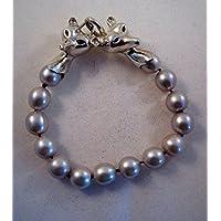 Argento e la testa di volpe Pearl braccialetto
