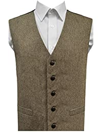 Men's Wool Blend Herringbone Tweed Waistcoat, Brown/Beige