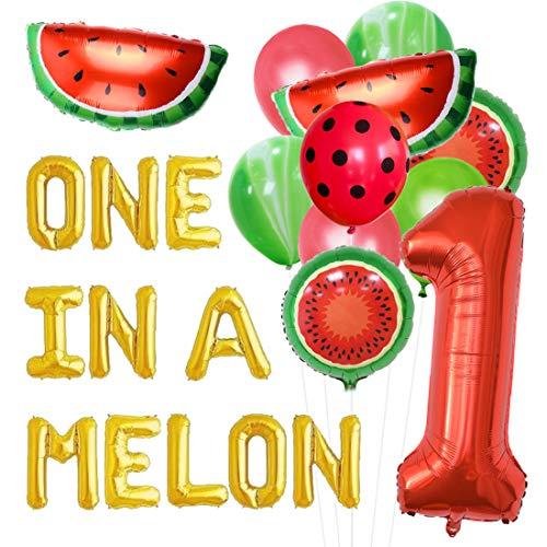 JOYMEMO Wassermelone ersten Geburtstag Partydekorationen, eine in Einer Melone Ballon-Sets, Ballons, Wassermelone Ballons 1. Geburtstag Supplies Sets