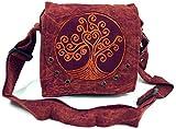 Guru-Shop Ethno Schultertasche, Nepaltsche Stonewash `Tree of Life`- Rostrot, Herren/Damen, Baumwolle, Size:One Size, 20x20x7 cm, Alternative Umhängetasche, Handtasche aus Stoff